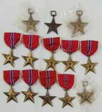 13pcs-WW2 Period Bronze Star Medals-Sewn Slot Brooch Ribbons