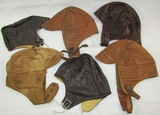 6pcs-Early Aviation Leather Flight Caps