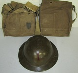 3pcs-WW1 U.S. 1st Infantry Division Painted Helmet-Gas Mask + Named 301st Support Train Gas Mask