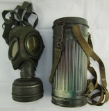 Rare WW2 German  M30 Gas Mask With Microphone Connector/Camo Cannister-Named