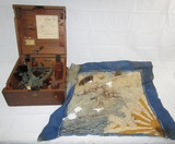 Rare WW2 Japanese Navy Sextant With Original Wood Case-WW2 Japanese Sailor Silk Scarf