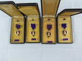 4pcs-WW2 Period Purple Heart Medals With Case