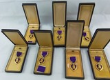7pcs-WW2 Period Purple Heart Medals With Case