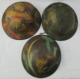 3pcs-WW1 U.S. Doughboy Helmets With Camo Finish/Liners