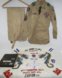 WW2/Korean War Vet 187th RCT Named Grouping-Photo Album-Uniform Shirt-Hand Painted Silk Banner