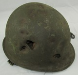 Korean War Period U.S. M1 Helmet With Liner-Shrapnel Damage-Battlefield Pick Up