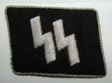 WW2 Waffen SS Officer's Runic Collar Tab-Silver Bullion-Original RZM Tag On reverse