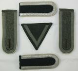 5pcs-WW2 German Army Shoulder Boards-2 Matching Prs.-HBT Rank Stripes.