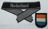 2pcs-SS Panzer Grenadier Foreign Volunteer Nederland Cuff title-Waffen SS Dutch Arm Shield