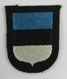 Waffen SS Estonia Volunteer Arm Shield/Patch-3rd Pattern No reaction To UV Lighting