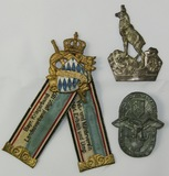 3pcs-Pre WW1 Bavarian-Prussian Ribbon-Reichs Colonial Badge-Edelweiss Dog Walking Cane Device