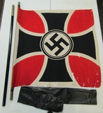 Scarce WW2 German Flag Of The National Socialist Reich War Assoc. With Pole/Storage Bag