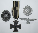 4pcs-WW1 EK2-WW2 Black Wound Badge-Army Visor Eagle-Luftschutz Service Medal