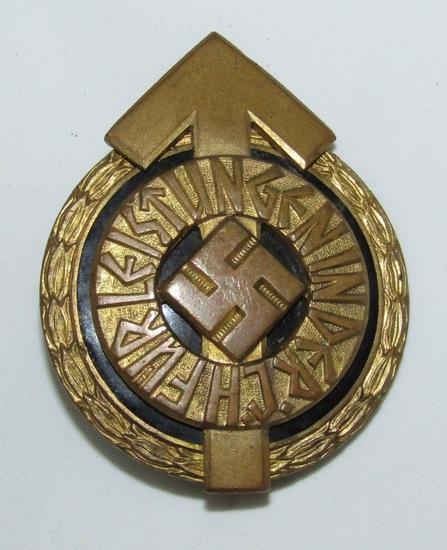 WW2 Hitler Youth Leader's Sports Badge In Gold-Gustav Brehmer