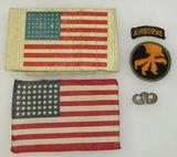 5pcs-WW2 17th Airborne/517th PIR Invasion Armband-Cloth Flag-Jump Wing Etc.-Named