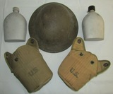 3pcs-M1917 Doughboy Helmet-2 Canteens With Covers