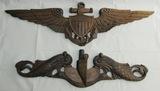 2pcs Hand Carved Wood USN Pilot Wings-Submarine Badge