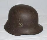 Rare WW1 German M16 Freikorps Helmet- Very Early  Swastika Decal