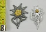 2pcs-WW2 German Mountain Troops Metal Edelweiss Cap Insignia
