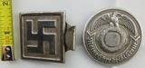 2pcs-Early WW2 German Political Swastika Belt Buckle-De-Nazified SS Officer's Buckle