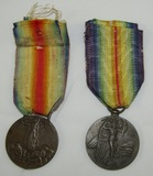2pcs-WW1 Italian & Czech Victory Medals-Both Name Engraved On Rim