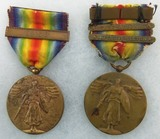 2pcs-WW1 U.S. Victory Medals With Name Engraved Rims