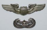2pcs-WW2 Full Size U.S. Pilot Wings & Glider Troops Wings.