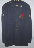 Early USAF Class A 4 Pocket Service Tunic-Alaskan Air Command-Named W/Dog Tags