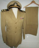 WW2 USN Lt. Commander Tan Service Tunic-Cap-Pants-Named-Civil Engineer Corps