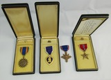 4pcs-WW2 Period U.S. Air Medal/Purple Heart/Bronze Star-Cased-Distinguished Service Cross