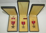 3pcs-Name Engraved Bronze Star Medals with Cases