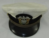 1950's/Vietnam War Period US Navy Officer's White Top Visor Cap-Named