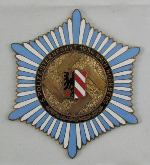 Pre WW2 1934 Nurnberg Rally Nazi Police Enameled Plaque Device