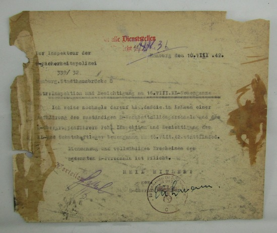 Rare WW2 SS Correspondence For Concentration Camp Inspection-Signed By Adolf Eichmann