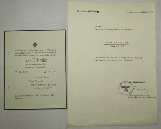 2pcs-Waffen SS Promotion Letter To Father Of Eastern Front  Soldier/Son KIA Notice