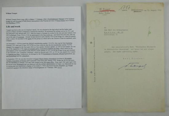 Rare Waffen SS Standartenfuhrer William Traupel Signed Document