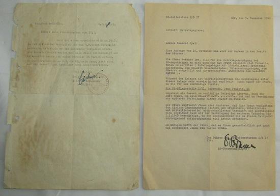 2pcs-Allgemeine/Waffen SS Signed Typewritten Letters-Totenkopf/Reitersturm 2^/17
