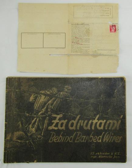 "2pcs-Rare WW2 Auschwitz Letter-Rare 1946 ""Za Drutami"" Concentration Camp Sketches"