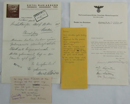 2pcs-Rare  3rd Reich New Years Eve Letters- Handwritten To Hitler Signed By AH  Loyalist Carl Rover