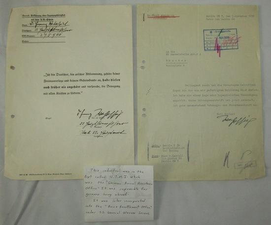 WW2 Waffen SS Obersturmfuhrer Dr. Franz Wehofsich Signed Document Grouping-Race Resettlement Office