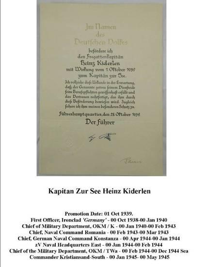 """WW2 Kriegsmarine Promotion Document-Kapitan Zur See """"Heinz Kiderlen""""-U-Boat Base Commander"""