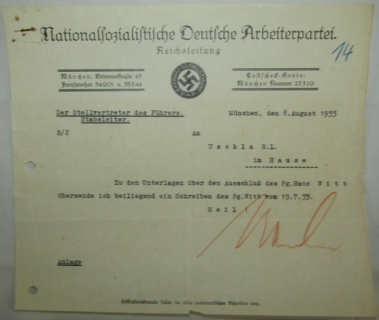 Rare Early Nazi Party Letter To Reichs Party Leader Signed By Martin Bormann
