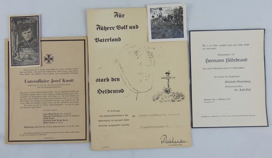 4pcs- KIA Wehrmacht Death Notice/Photo. Rare Waffen SS Officer Death Notice With Photo Of Grave