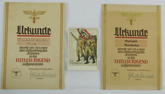 3pcs-Post card To Hitler From Youth Wishing Happy Birthday-2 HJ Membership Certificates