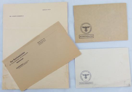 4pcs 3rd Reich Envelopes-Goebbels Stationary