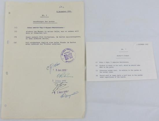Rare Original typewritten Medicine Schedule For Albert Speer-Signed By Several Doctors