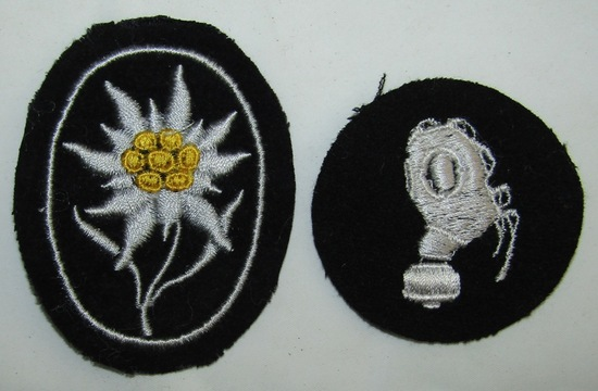 2pcs-Waffen SS Mountain Troops Edelweiss Arm patch-Gas-Mann Specialty Patch