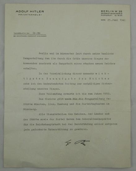 Adolf Hitler Typewritten Letter On Letterhead-Memo On Refurbishing Major Cities By 1950