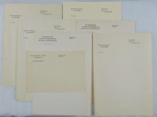 7pcs-Misc. NSDAP Reichs Chancellery Stationary/Letterhead