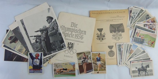 Large Grouping 1936 Berlin Olympics Photo Prints-1932 Cigarette Card Album Photos-Medal Reference